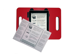 Acuity Design iPad running OverLay app in red tray with OverLay instruction sheet lying on top